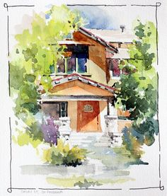 Watercolor Landscape Tutorial, Watercolor Scenery, Watercolor Painting Techniques, Watercolor Landscape Paintings, Watercolor Sketch, Watercolor Artwork, Watercolor Illustration, Painting & Drawing, Watercolor Architecture