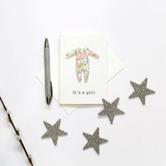 Liberty Print New Baby Girl Card | Poppy & Daisy