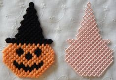Plastic Canvas Halloween Pumpkin Magnet or by AdelesCrafts on Etsy