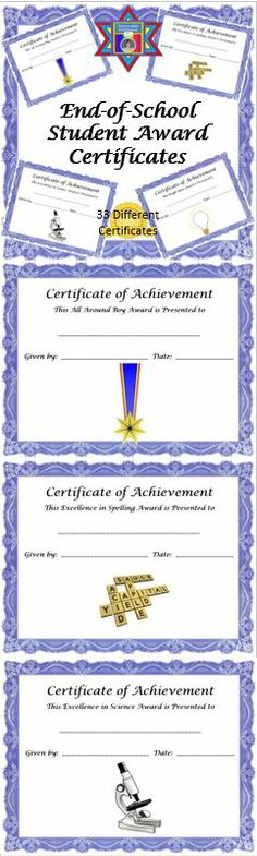 End of Year Award Certificates for students.  Simply select the awards you want to give, print, fill in name, date, and sign.  These are quick and easy to use.  $
