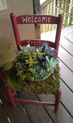 Old children's chair, distressed and altered to.house succulent. Hand painted as a Welcome Sign for Warm Front Entry Decor.. Sold. similar products $ 40.00. Ash River Sign And Design Facebook.