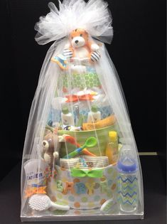 Custom 4 Tier baby boy diaper cake orange blue by TheBasketDiva, $155.00