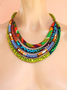 Bib Necklace African wax print fabric necklace by on Etsy Textile Jewelry, Fabric Jewelry, Tribal Jewelry, Beaded Jewelry, Fabric Necklace, Rope Necklace, Beaded Necklace, African Necklace, African Jewelry