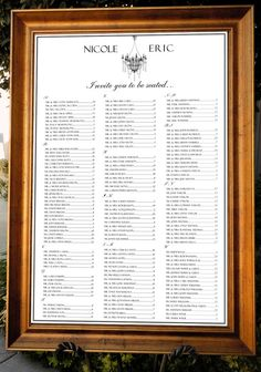 """Formal Chandelier Seating Chart / Table Assignment for your Wedding or Special Event - Large 24"""" x 36"""""""