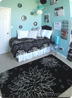 decorating ideas for girls bedrooms - love the aqua and black combo! #aqua #girls