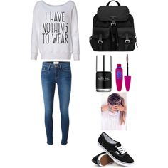 School #10 by amberpend on Polyvore featuring polyvore, fashion, style, Frame Denim, Vans, Prada, Maybelline and Nails Inc.