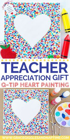 Teacher Appreciation Week Discover Teacher Appreciation Gift: Q-Tip Heart Painting Celebrate Teacher Appreciation Week with this sweet & simple gift idea. Grab some Q-tips a canvas and paint and create your own unique masterpiece! Hot Toddy, Teacher Appreciation Cards, Teacher Gifts, Volunteer Appreciation, Simple Gifts, Easy Gifts, Lego Sets, Diy For Kids, Crafts For Kids