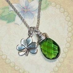 Shamrock and Emerald Briolette Sterling Silver Charm Necklace by #DolphinMoonCreations.com #shamrocknecklace