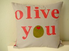 SALE  Olive You  in Grey  Pillow Cover by OliveHandmade on Etsy, $40.00