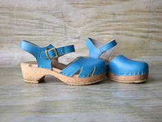 Vintage Blue SVEN Swedish Wooden Clogs Sandals Etsy.