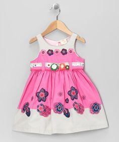 Look at this #zulilyfind! Pink & Gray Flower Babydoll Dress - Toddler & Girls #zulilyfinds