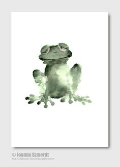 HAPPY GREEN FROG watercolor painting. Abstract green wall decor. Frog fine art print from original watercolor art. Funny green nursery decor on Etsy, $25.00