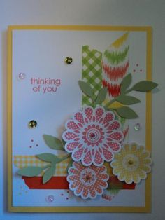 Inspired by Lin on her blog heartshugsandflowers.blogspot.com. I used various washi tapes and inks to make this card. Used the SU/Sizzix Leafy Branch sizzlits for the branches. The greeting is a stamp set from Close To My Heart