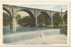 WISSAHICKON CREEK at P. & R. Ry Bridge Fairmount Park Phil Pa Vintage Postcard