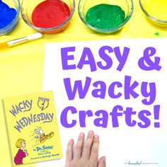 EASY Wacky Wednesday Crafts 20 simple, low prep Wacky Wednesday ideas to help create a memorable and wacky day for your kids! Find Wacky Wednesday STEM activities, wacky crafts, and wacky surprises! Dr. Seuss, Dr Seuss Stem, Dr Seuss Activities, Kindergarten Activities, Toddler Activities, Preschool Activities, Dr Seuss Crafts, Preschool Crafts, Wacky Wednesday
