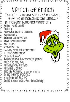 """A Pinch of Grinch"" Unit (free; from First Grade Wow)"
