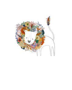 Lion, flowers. 8x10 print. , via Etsy.
