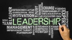 leadership word cloud on blackboard stock photo
