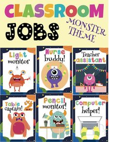 Classroom Jobs Chart Monster Theme Edition A Cool And Funny Way To Organize Manage Your This Year