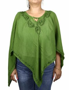 Summer Casual Dress Women Poncho Top Embroidered Colorful Rayon Green ShalinIndia