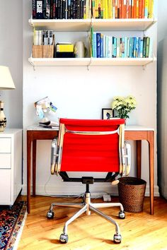 This Small Brooklyn Apartment Feels Comfortable, Not Cramped #refinery29  http://www.refinery29.com/homepolish-writers-brooklyn-retreat#slide-4  I'm a freelance writer, so establishing a dedicated office space within the open layout of my studio was my top priority. Because of that, the desk purchase felt worth it (and it got the thumbs-up from Will). The success of my home office is paramount because I work from home almost exclusively.Related: This Is What Your Gallery Wall Is Missing