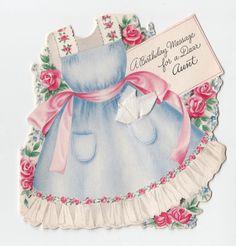 Vintage Greeting Card Cute Die-Cut Apron Hallmark 1940s Flowers Birthday Aunt