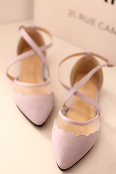 Scalloped edge blush shoes