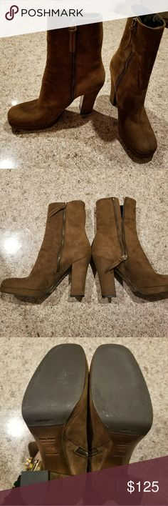 """Miu Miu Brown Suede Boots Booties Miu Miu Brown Suede Boots Booties 38.5.  Fits more like an 8. 4.5"""" heel. Fun and a rare find.  Great condition. Miu Miu Shoes Ankle Boots & Booties"""