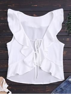 $16.50 Front Tie Ruffles Cropped Tank Top - WHITE S