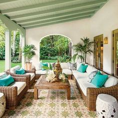 An old-Spanish villa in Coral Gables via Southern Living. Design by Rafael Portuondo. Photo by Roger Foley. And,tiles by XSurfaces.