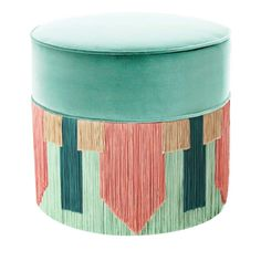 Mint and Pink Couture Geometric Tie Pouf Lorenza Bozzoli Design - Artemest Ottoman Stool, Mint Color, Velvet, Shapes, Tie, Couture, Fringes, Create, Unique