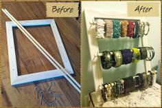 DIY Bracelet Organizer: Frame, hooks and rods. Drilled holes in frame for hooks and cut rods into desired length. Took less than 10 minutes!!