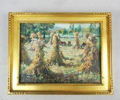 Signed Antique Early 20c R L Palliser Framed Oil Painting Corn Stalks Harvest | eBay