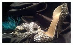 Masquerade Mask and matching Stilletto High Heel Cake Topper (Will Customize colors)