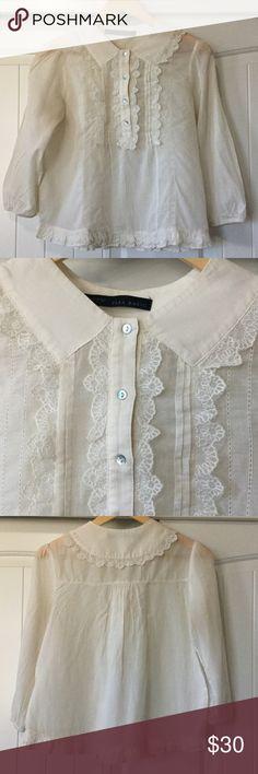 ZARA BASIC BLOUSE ZARA BASIC BLOUSE - Beautiful linen ruffled blouse.  The buttons button down.  Never worn.  Smoke free home. Zara Basic Tops Blouses
