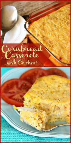Cornbread Casserole - Make it a main dish with chicken or as a tasty side! #cornbread