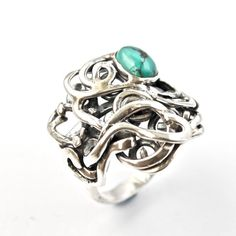 Silver Turquoise Ring Recycled Silver Handmade Ring by AlexAirey, $364.00 www.etsy.com/shop/alexairey #upcycled