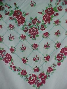 "Vintage Cotton Printed Tablecloth 1940s Roses Flowers Foliage 54x64"" Red Aqua 