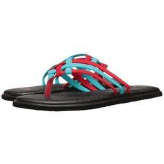 Sanuk Yoga Salty (Aqua/Bright Red) Women's Sandals ($36) ❤ liked
