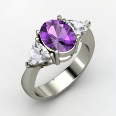 Sophia Ring - Oval Amethyst 14K White Gold Ring with White Sapphire