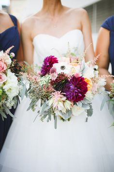 Festive flowers | Photography: Adrienne Gunde - www.adriennegunde.com  Read More: http://www.stylemepretty.com/california-weddings/2015/03/24/whimsical-fall-wedding-at-the-loft-on-pine/