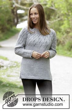 Knitted jumper with round yoke and lace pattern. Size: S - XXXL Piece is knitted in DROPS Karisma. Free pattern by DROPS Design.