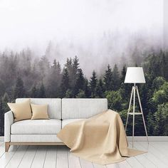 Forest in the Mist Mural Awesome Bedrooms, Bedroom Fun, Wall Murals, Mists, Backdrops, Indoor, Throw Pillows, Wallpaper, Adhesive