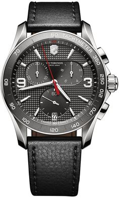 Victorinox Swiss Army Men's Chronograph Classic Black Leather Strap Watch 41mm 241657