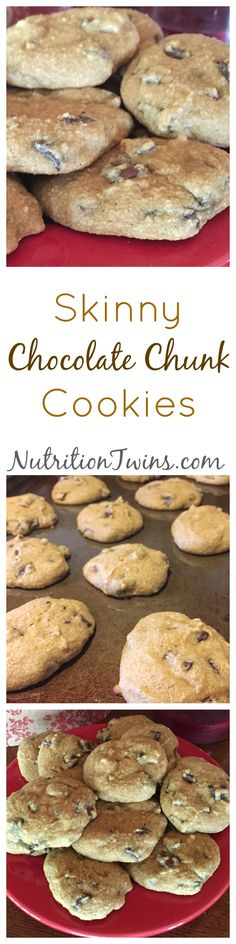 Skinny Chocolate Chunk Cookies | Only 104 Calories | Moist & delish without butter | Healthy | @egglandsbest  .client | For Nutrition & Fitness Tips & RECIPES please SIGN UP for our FREE NEWSLETTER www.NutritionTwins.com