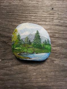 Hand Painted Tiny Mountain Landscape Beach Stone by SeaShoreLife
