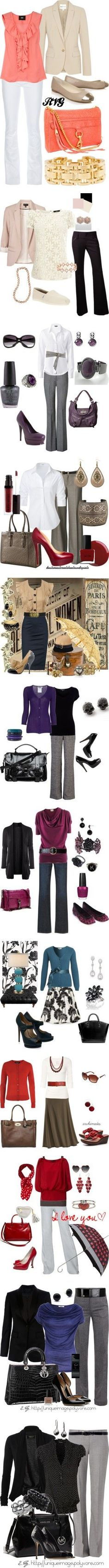 Great work outfits for fall! However, the outfits doesn't have to be color matching. For example, you could wear yellow shoes with a purple top or a red top easily!