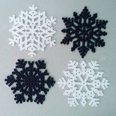 Snowflakes perler beads by miwakoqi