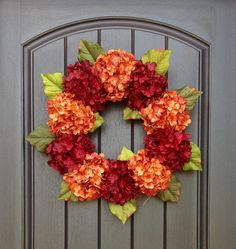 Hydrangea Wreath Spring Summer Fall Wreath Grapevine Door Wreath Orange Red Hydrangea Floral Door Decoration Indoor Outdoor by AnExtraordinaryGift on Etsy
