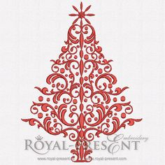 Machine Embroidery Design - Elegant Red Christmas Tree (3 in 1), $2.59